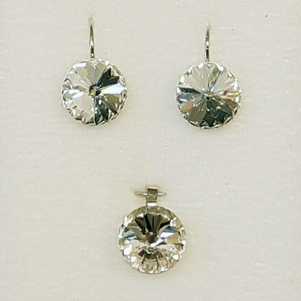 SILVEGO stříbrný set kapka Argent se Swarovski(R) Crystals 96773afafc7
