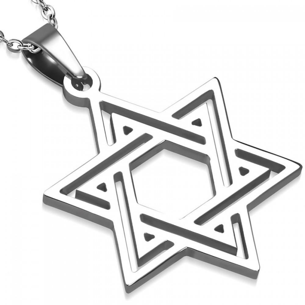 Přívěsek chirurgická ocel davidova hvězda LPOK368
