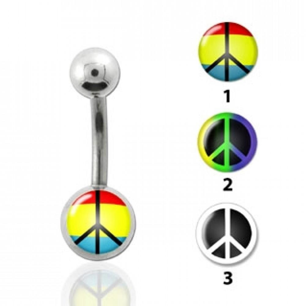 Piercing do pupíku - peace