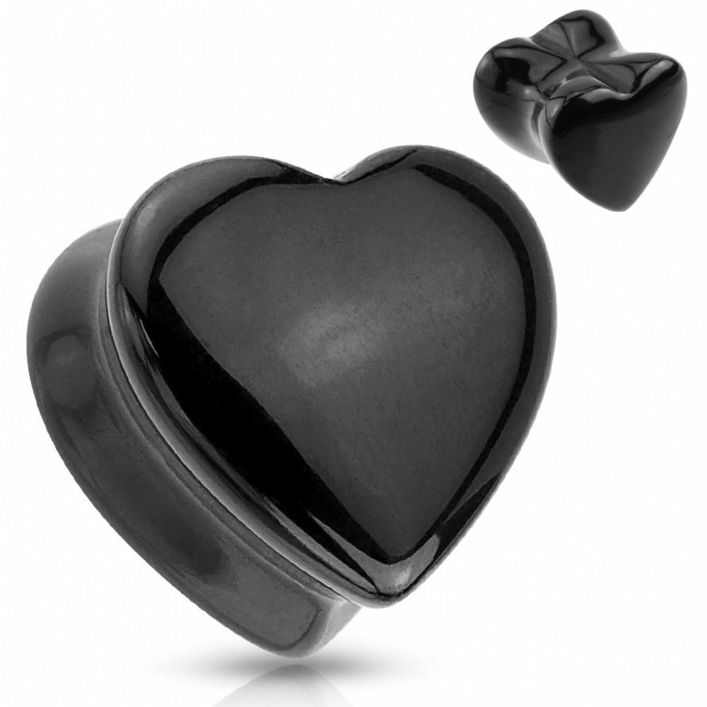 Plug do ucha srdce - černý onyx