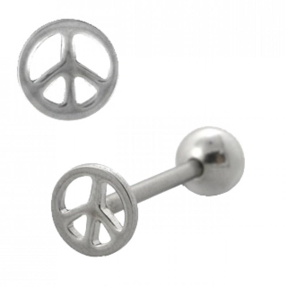 Piercing do jazyka 'peace'