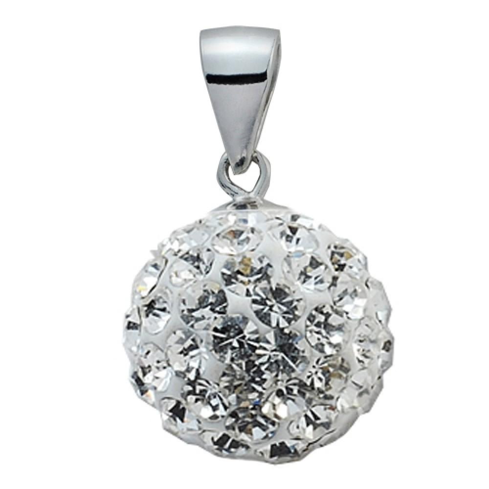 Stříbrný přívěšek koule 10 mm, SWAROVSKI® el, Crystal