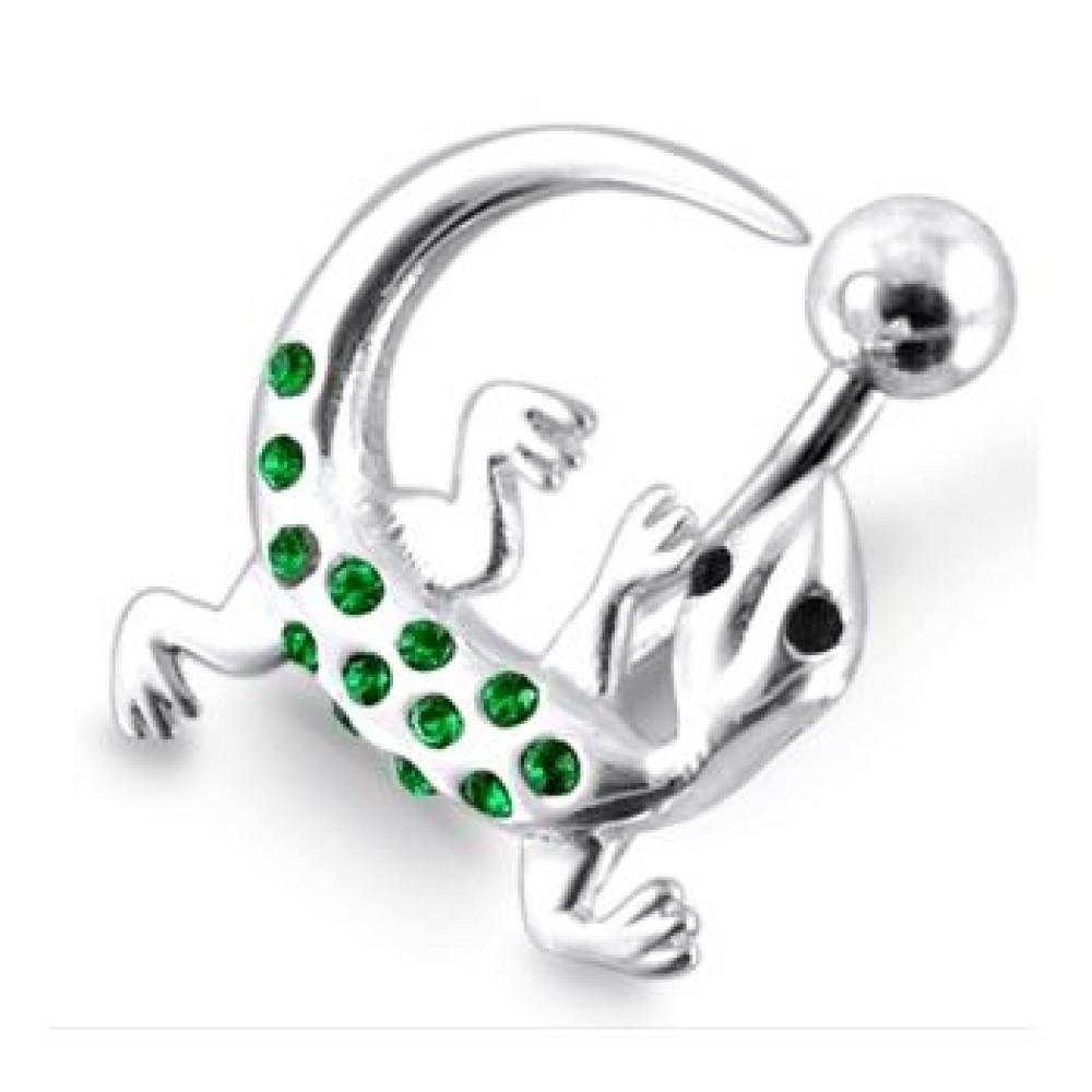 Stříbrný piercing do pupíku - ještěrka