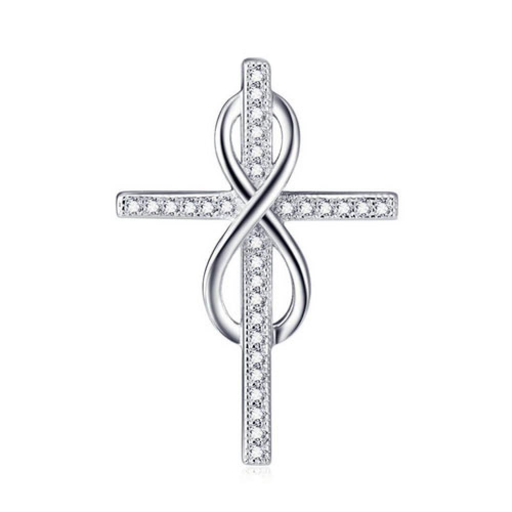 Stříbrný přívěšek kříž a nekonečno