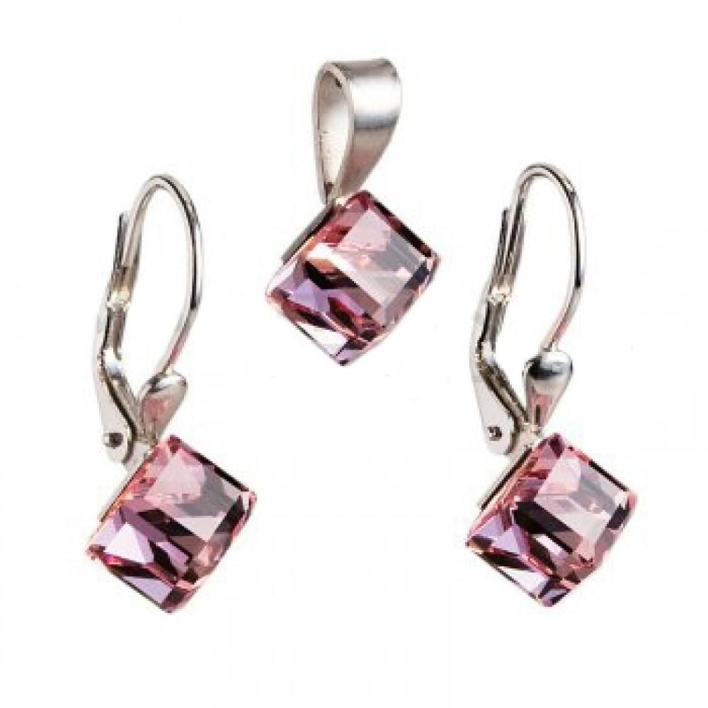 Stříbrný set náušnic a přívěšku s krystaly Crystals from Swarovski® 34bb017725b