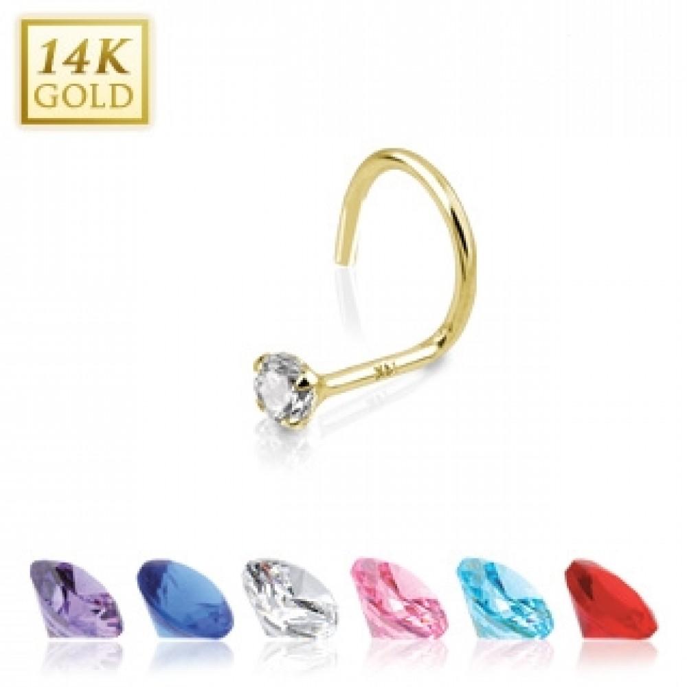 Zlatý piercing do nosu, Au 585/1000 - kamínek 2 mm