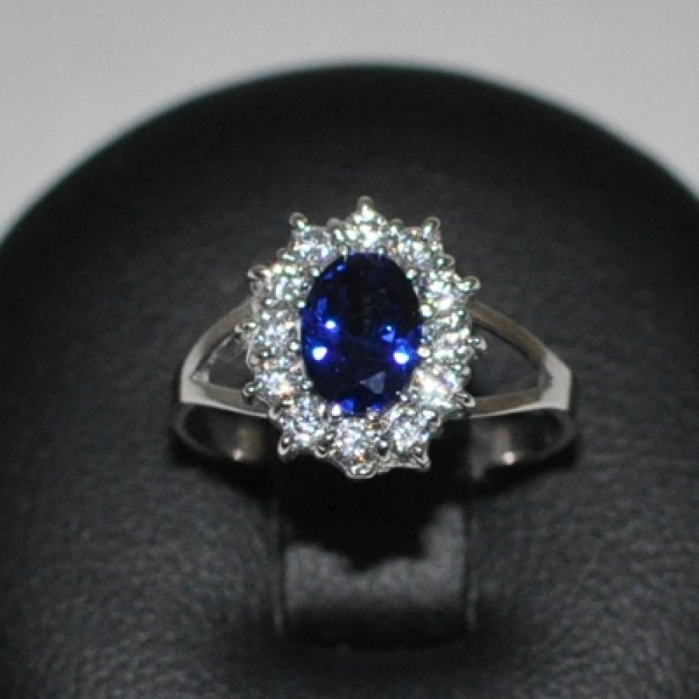 Stříbrný prsten s modrým zirkonem ZB5271