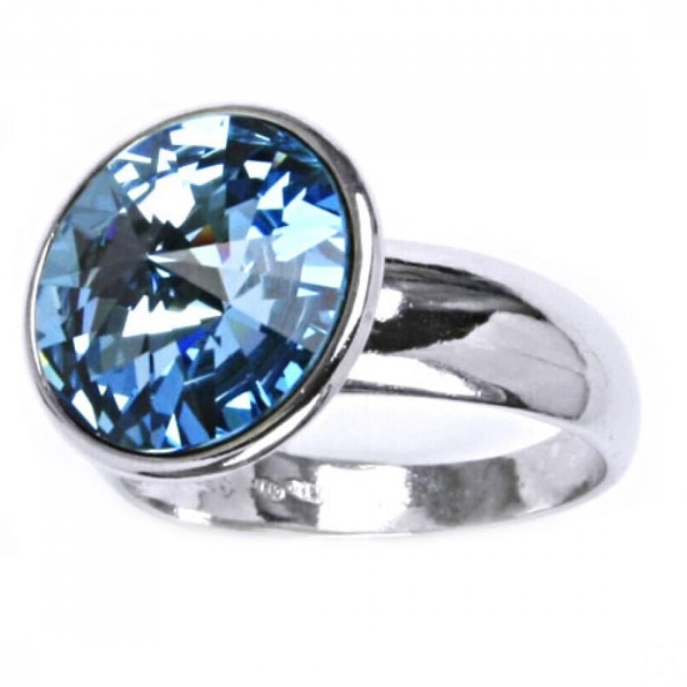 Stříbrný prsten SWAROVSKI® el., Aquamarine