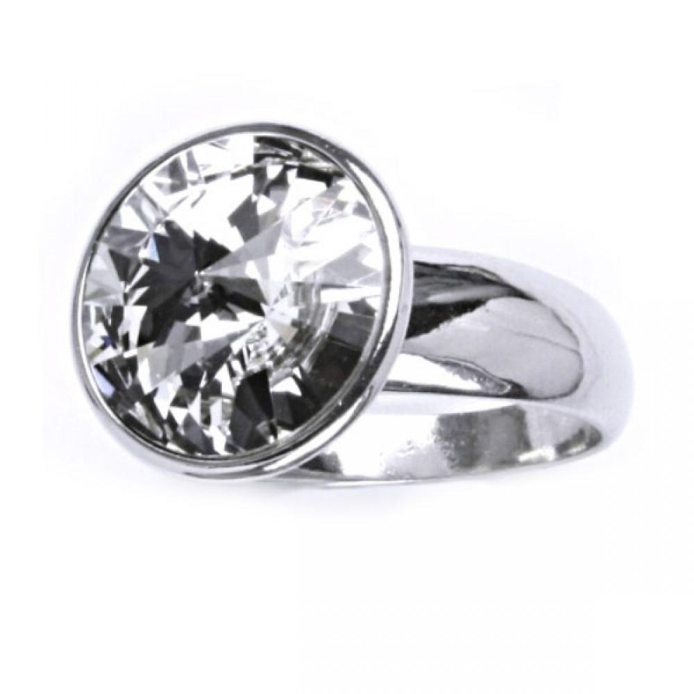 Stříbrný prsten SWAROVSKI® el., Crystal