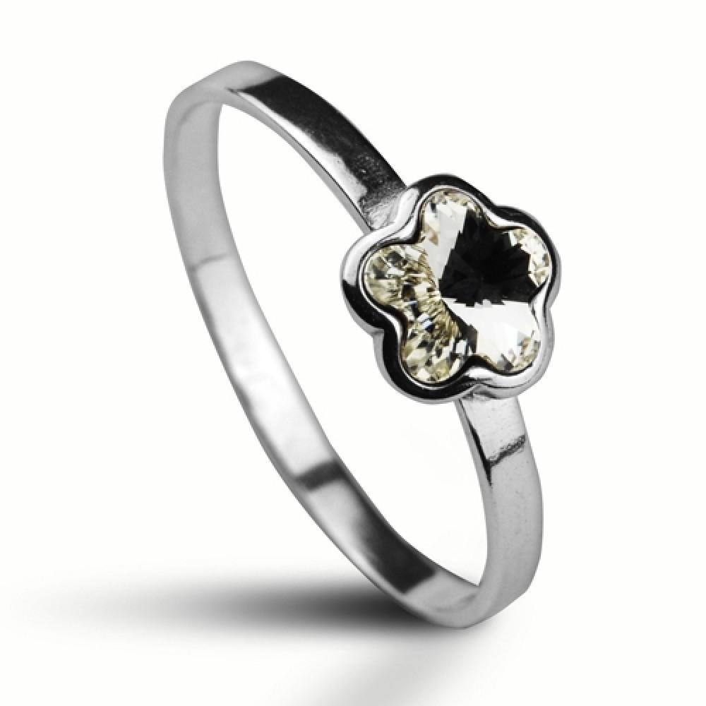 Stříbrný prsten SWAROVSKI® el., kytička