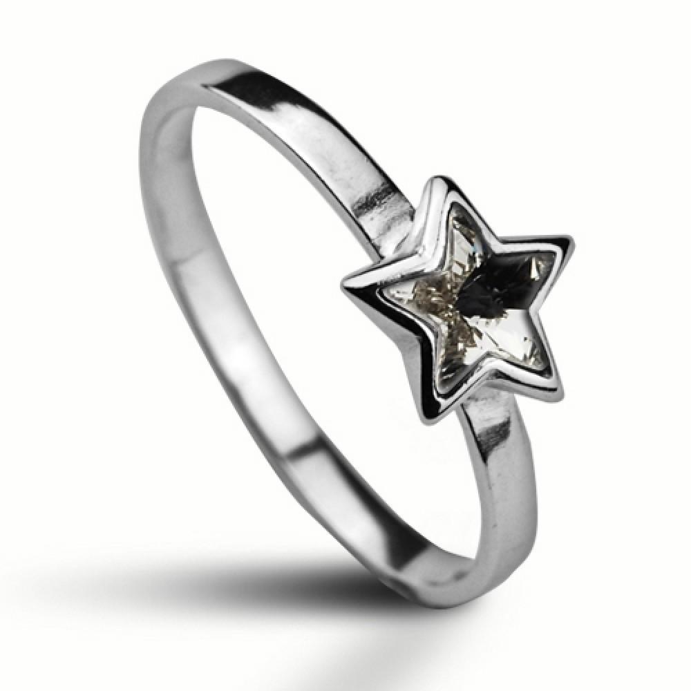 Stříbrný prsten SWAROVSKI® el., hvězda