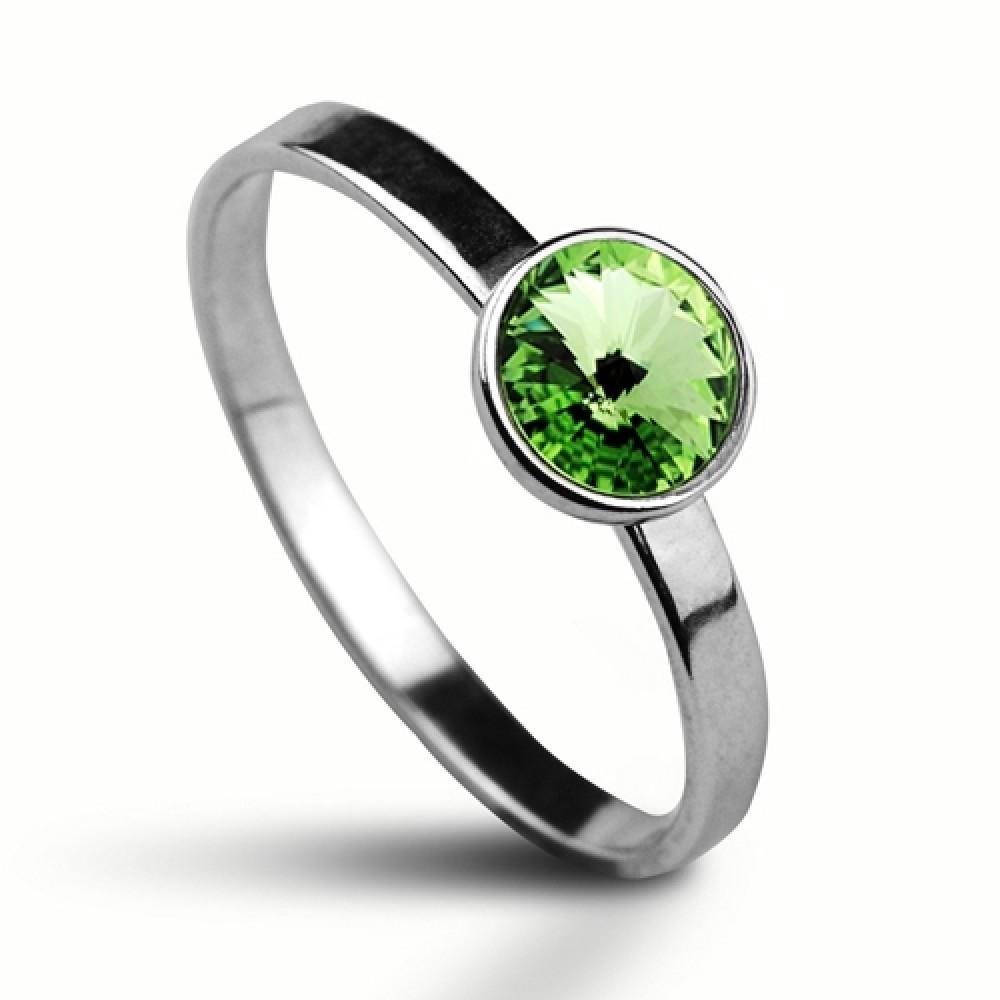 Stříbrný prsten SWAROVSKI® el., Peridot
