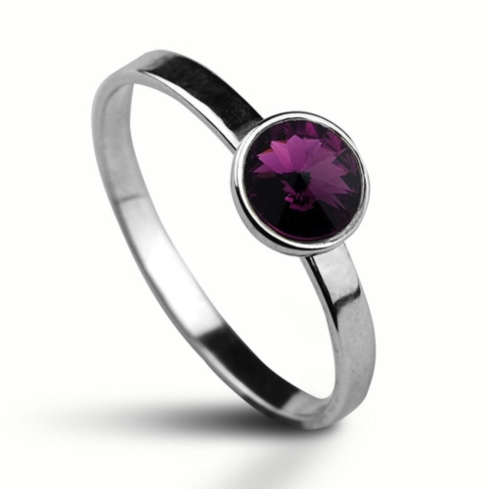 Stříbrný prsten SWAROVSKI® el., Amethyst