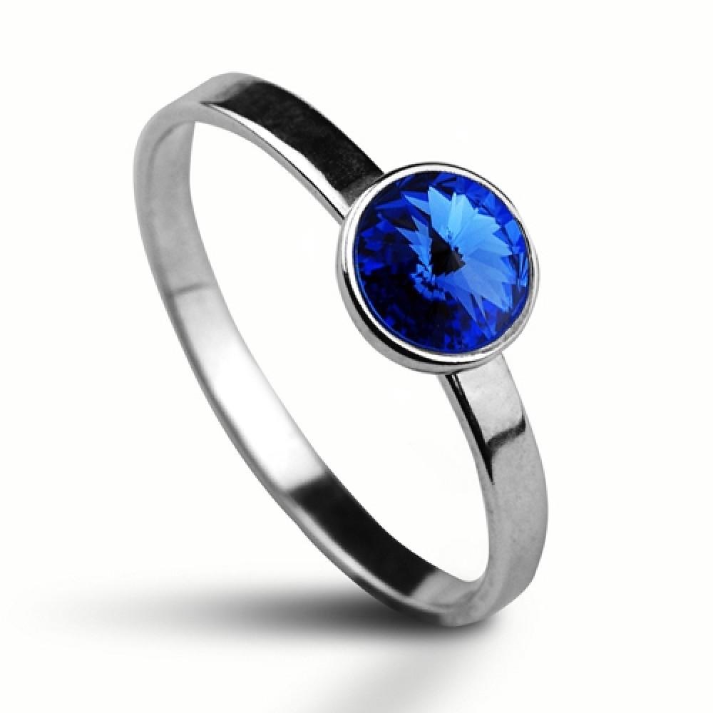 Stříbrný prsten SWAROVSKI® el., Sapphire