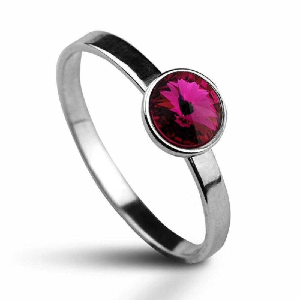 Stříbrný prsten SWAROVSKI® el., Fuchsia