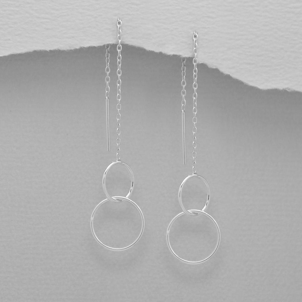 Visací stříbrné náušnice - kroužky