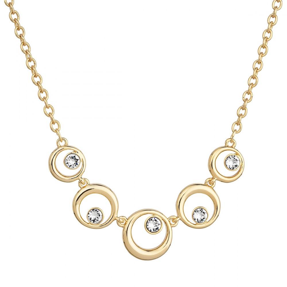 Náhrdelník bižuterie se Swarovski krystaly čirý 5 kruhů 52013.1 krystal gold b866d4ac1f8